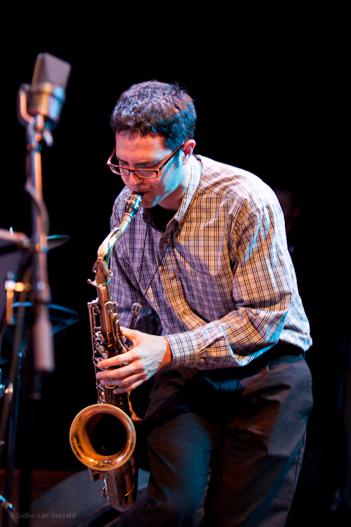 Tenor Saxophonist Lucas Pino of the Gideon van Gelder Sextet. Performing at the presentation of their new CD Perpetual.